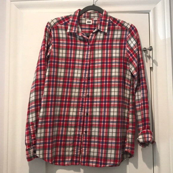 5b4aa685 Uniqlo Tops | Red White Gray Blue Flannel Button Down | Poshmark